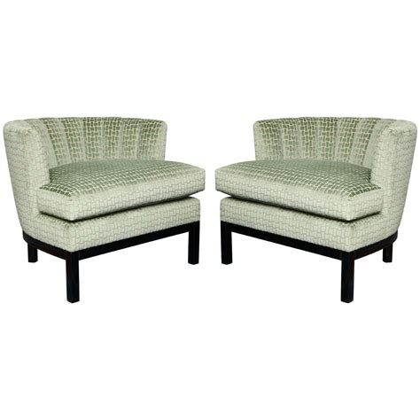 pair of deco channel back slipper chairs for sale at