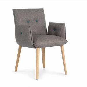 fauteuil contemporain de salle a manger en bois et tissu With salle À manger contemporaineavec fauteuil de table salle a manger
