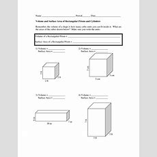 Volume And Surface Area Worksheets  Volume And Surface Area Worksheets  Doc School