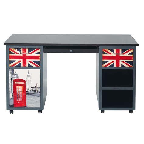 bureau en bois gris   cm london maisons du monde