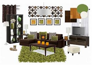 Nice green and orange living room in small home remodel
