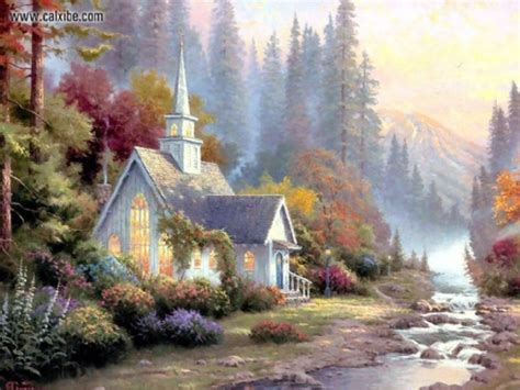 drawing painting kinkade  forest chapel picture nr