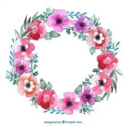 floral wreath in pink colors vector free