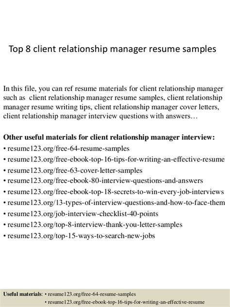 Resume Senior Relationship Manager by Top 8 Client Relationship Manager Resume Sles