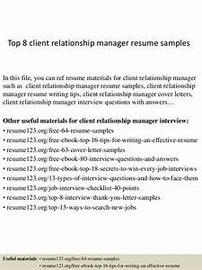 top 8 client relationship manager resume samples With sample cover letter for client relationship manager