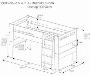 Lit Enfant Dimension : lit mi hauteur enfant london blanc 90 190 chambre kids ~ Teatrodelosmanantiales.com Idées de Décoration