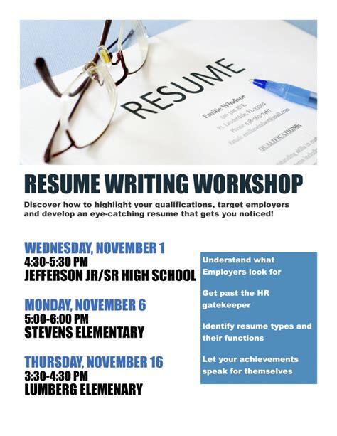 Resume Workshop by Free Resume Writing Workshop Edgewater Echo