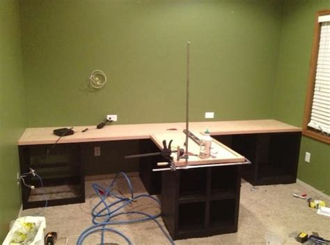 diy office   shaped countertop  built  cabinets