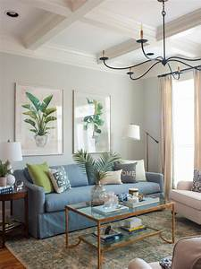 Transitional, Living, Room, With, Blue, Sofa