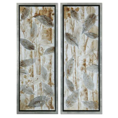 framed leaves wall wall set of 2 metal leaf 14 5 x 32 wall set of 3512
