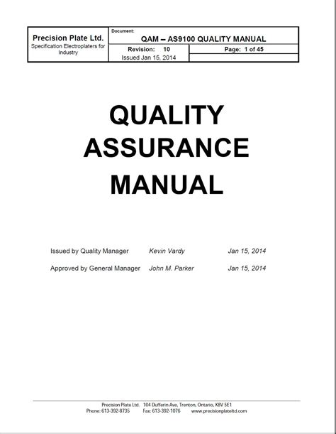 Free Quality Manual Template Download Choice Image
