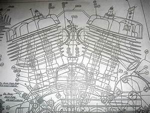 Harley Davidson 45 Flathead Engine Blueprint Wla Wl Hd Vtg