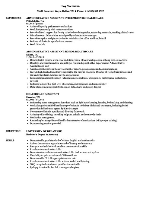 Chronological Resume Healthcare by 11 Health Care Assistant Cv Exles Imageresume