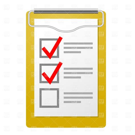 Checklist Clipart Clipboard With Checklist Vector Illustration Of Objects