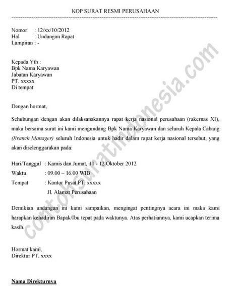 contoh surat undangan rapat kerja nasional