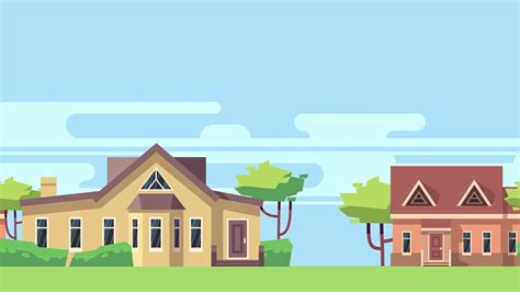 Animated Background With Rural Landscape With Country Houses, Trees And Clouds. Town Landscape