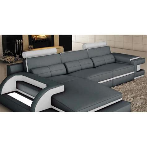canapé d 39 angle cuir gris et blanc design avec lumière