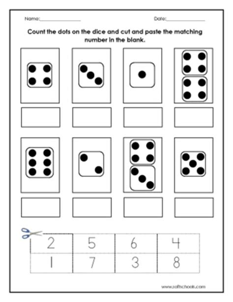 count  dots   dice  cut  paste  matching