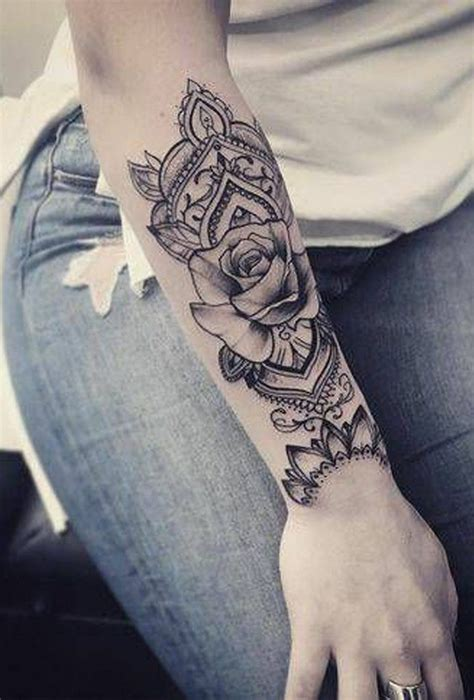geometric mandala black rose arm sleeve forearm tattoo