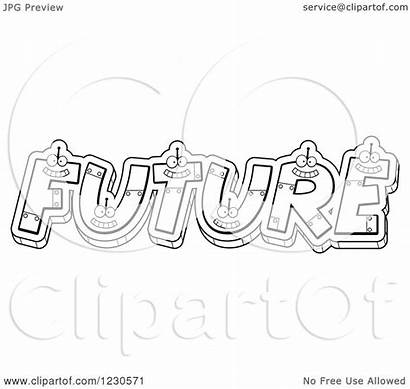 Future Word Robot Letters Forming Clipart Outlined