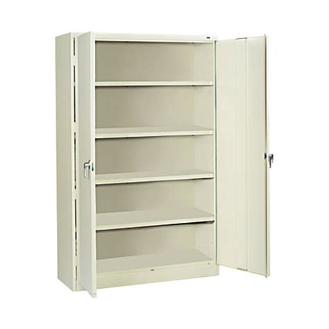 tennsco jumbo steel storage cabinet 5 shelves 78 h x 48 w x 24 d putty by office depot officemax