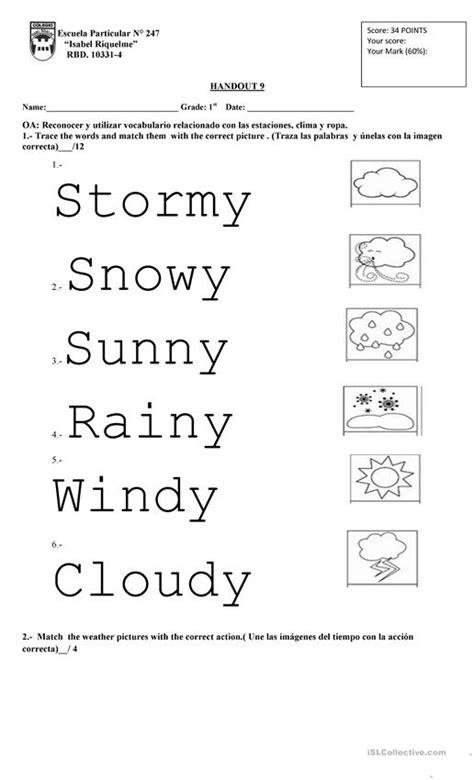 weather st grade english esl worksheets  distance