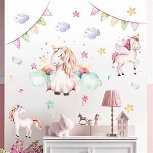 Wandtattoo Baby Mädchen : 074 wandtattoo einhorn pastell regenbogen kinderzimmer ~ Markanthonyermac.com Haus und Dekorationen