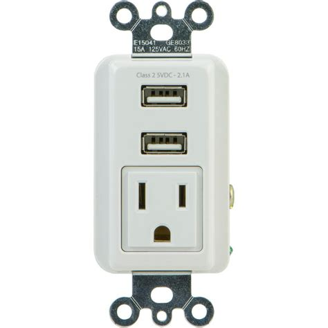 ls with usb ports and outlets ge 2 1 amp 1 outlet and 2 usb port in wall receptacle