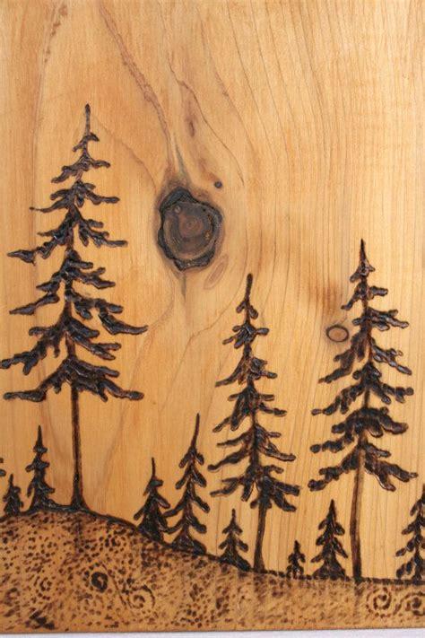 pine trees art block woodburning beautiful cedar