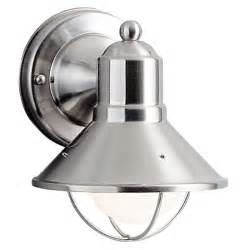 kichler nautical outdoor wall light in brushed nickel