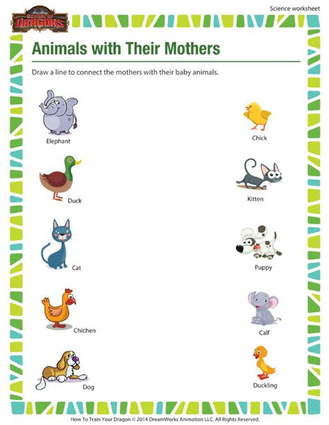animals with their mothers worksheet 1st grade kids sod