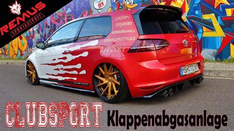 Vw Golf 7 Gti Clubsport Klappenauspuff Remus Exhaust Sound Gti Acceleration