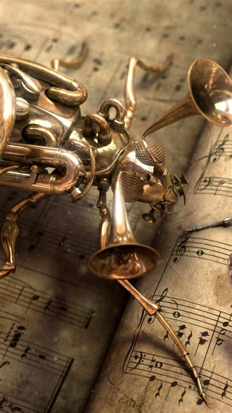musical bug steampunk android wallpaper