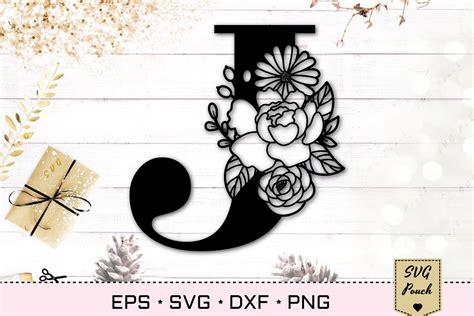 floral letter  svg flower  monogram font initial svg  cut files design bundles