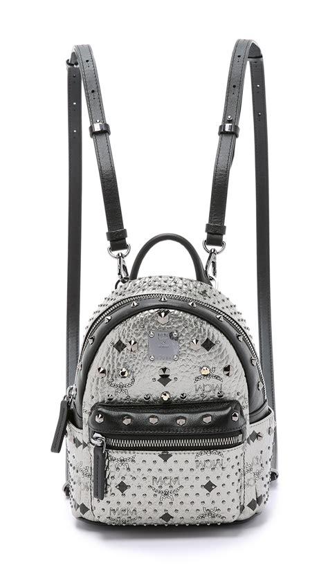 mcm crystal stud baby stark backpack silver  metallic lyst