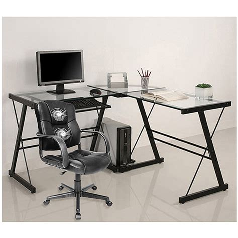 Computer Table And Chair Walmart by 3 Glass Computer Desk And Relaxzen 2 Motor Mid Back