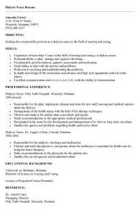dialysis resume sle nursing resume
