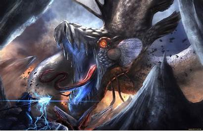 Epic Anime Wallpapers Warrior Fantasy Dragon Fight