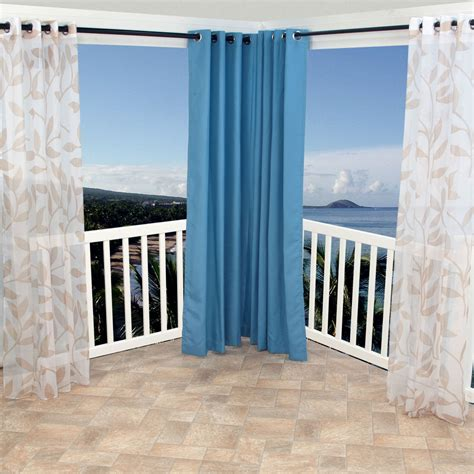 Sheer Patio Curtains Outdoor by Shop Sheer Khaki Leaf Outdoor Curtains With Grommets 54 X
