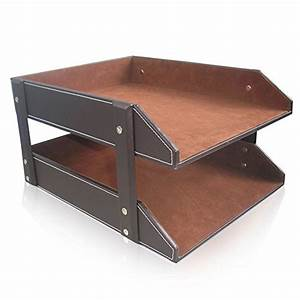 upc 702534101603 4522323 kingfomtm a4 2 tier leather desk With desk file letter trays