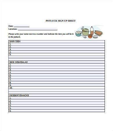 potluck sign  sheet   printable