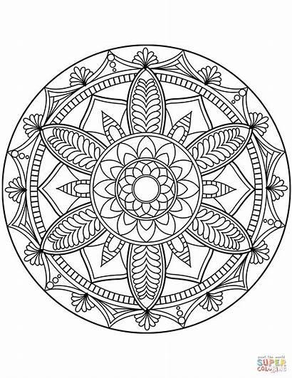 Coloring Mandala Flower Pages Mandalas Printable Floral
