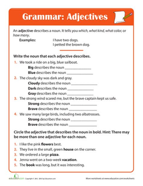 all worksheets 187 third grade adjective worksheets