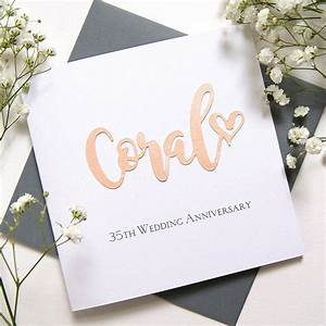 35th coral wedding anniversary card by the hummingbird ...