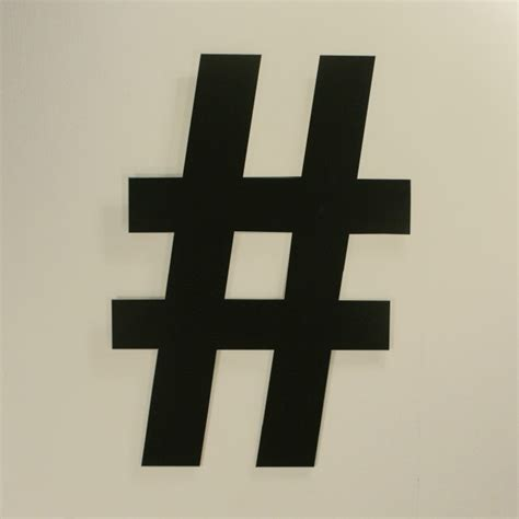 Large Wall Art Metal Hash Tag Symbol Sign in White or Black
