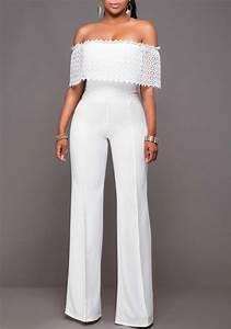 Combinaison Pantalon Femme Mariage : combinaison large pantalons avec dentelle col bateau ~ Carolinahurricanesstore.com Idées de Décoration