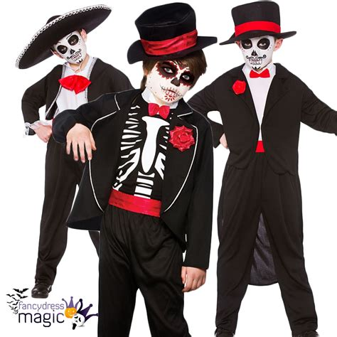 Niños Disfraz De Halloween Día Los Muertos Esqueleto Calavera Mexicano   eBay