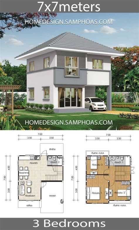 Small House plans 7x7m with 3 bedrooms Home Ideas