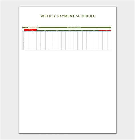 payment schedule template   word excel