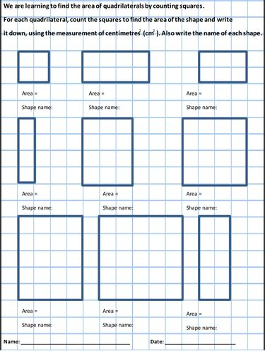 area work sheet counting squares to find the area y4 by squelch1 teaching resources tes